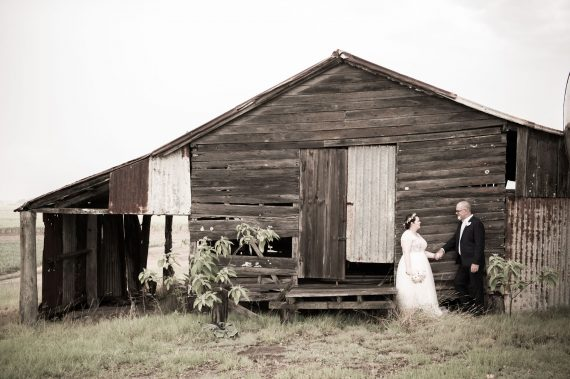 Rustic outback wedding near old shack